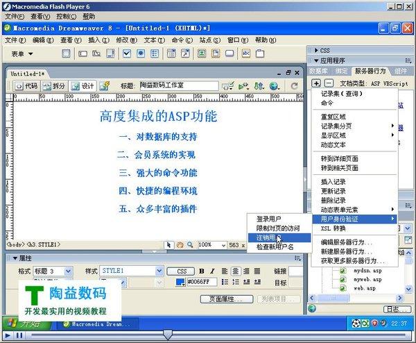Dreamweaver8开发ASP视频教程