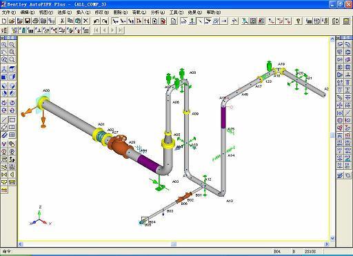 Bentley AutoPIPE 是一套全 Windows 环境的管道分析软件,主要是用来计算当一管道系统受到静态 (Static) 及动态 (Dynamic) 荷载 (Loading) 时,系统所承受的法规应力 (Code Stresses) 、荷载力、及变形量 (Deflections). AutoPIPE 可以分析各种复杂管道系统 : 如地下管道分析 (Buried Pipeline), ,波浪荷载 (Wave Loading) ,水 ( 或蒸气 ) 槌效应 (Water Hammer), FRP/
