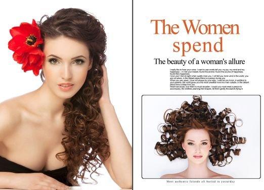 女人花欧美时尚发型展示杂志版式模板内页效果九