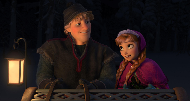 冰雪奇缘 剧照 男女主角雪橇夜奔