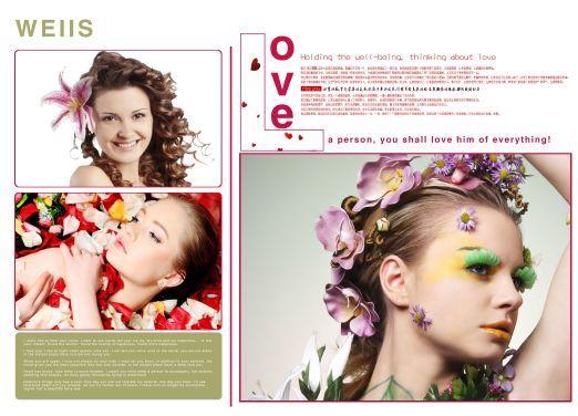 女人花欧美时尚发型展示杂志版式模板内页效果八