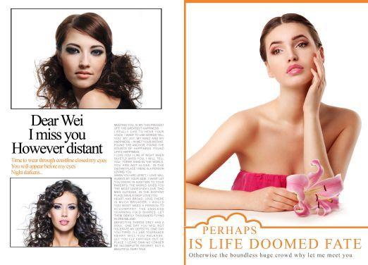 女人花欧美时尚发型展示杂志版式模板内页效果三